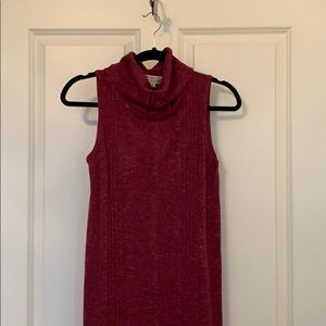 Maroon tunic/ mini dress with cowl neckline